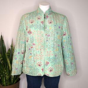 Koret mint floral zip up puffy jacket size M